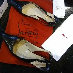 Christian Louboutin Black Leather Sling Back Shoes